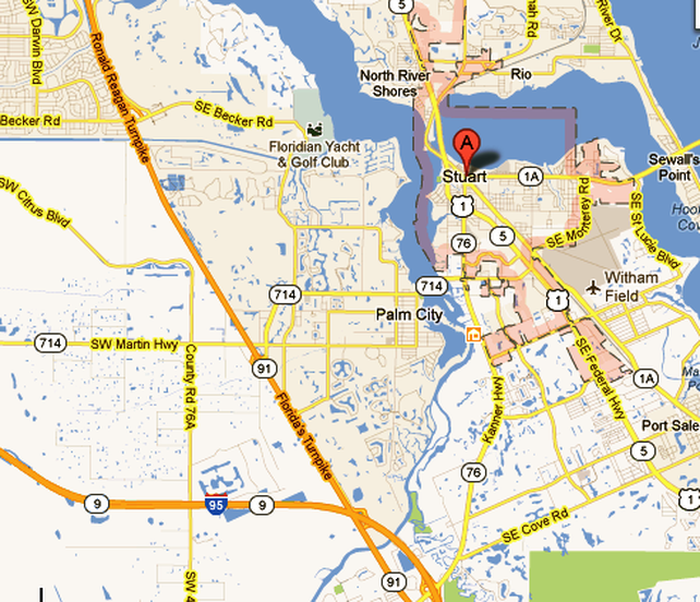 Map of Stuart   Riverland in Stuart Florida 55+ Residential Community